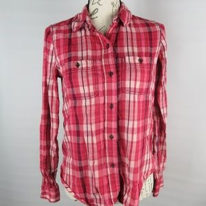 Mudd Pink Striped High-Low Button-Down Shirt Small